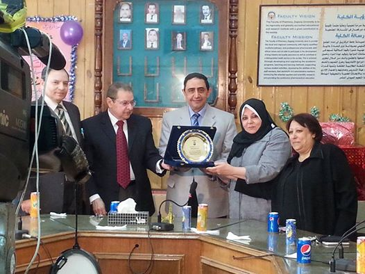 Celebration honoring Management Faculty of Pharmacy of the lady ((Magda Rizk)) Director-General of the affairs of the students