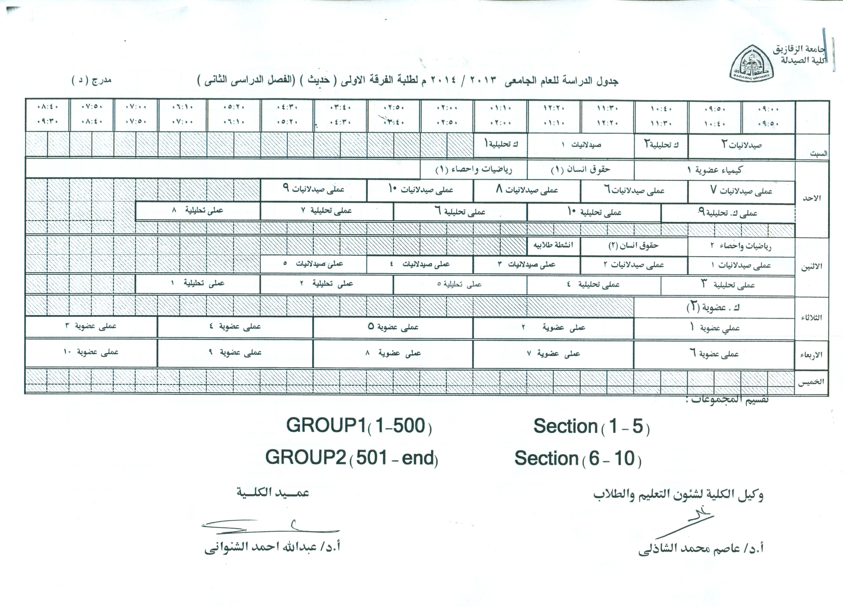 Tables for the academic year 2013/2014 for all teams the second semester