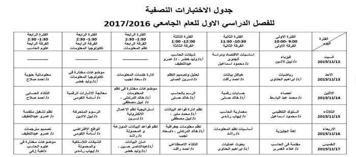 جدول الاختبارات النصفية للفصل الدراسي الاول للعام الجامعي 2016/2017