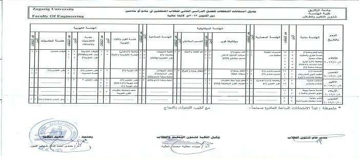 جدول امتحانات التخلفات الفصل الدراسي الثاني دور اكتوبر 2013 لائحة حالية و سابقة