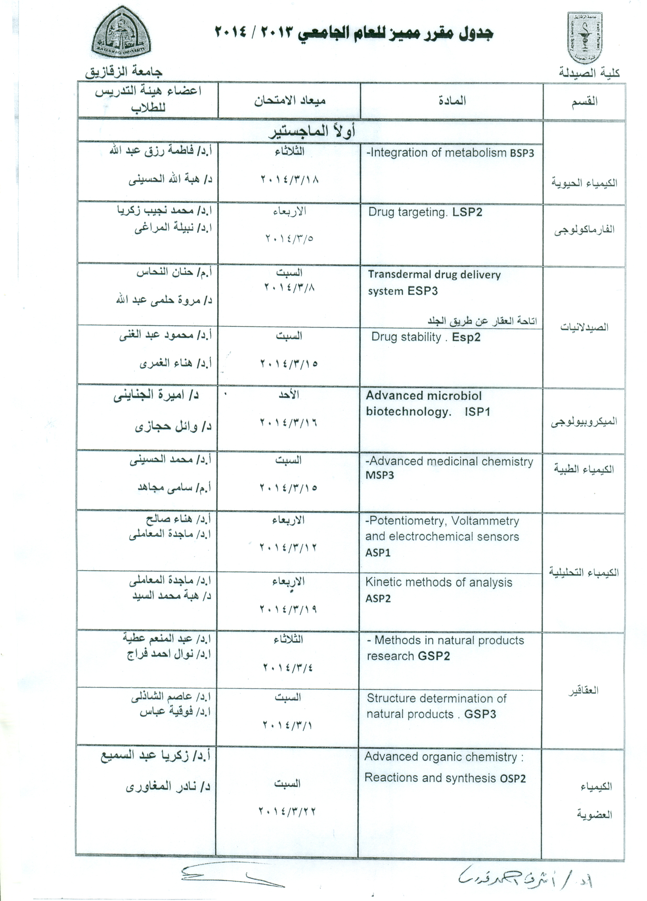 Senior decision exam schedule for the academic year 2013/2014 (Master _ PhD)
