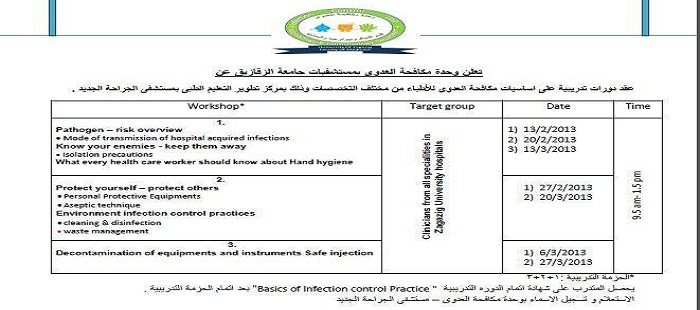 Workshops for infection control