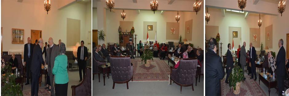 إستقبال ا.د /خالد عبد البارى رئيس الجامعة لفريق الهيئة القومية لضمان جودة ا
