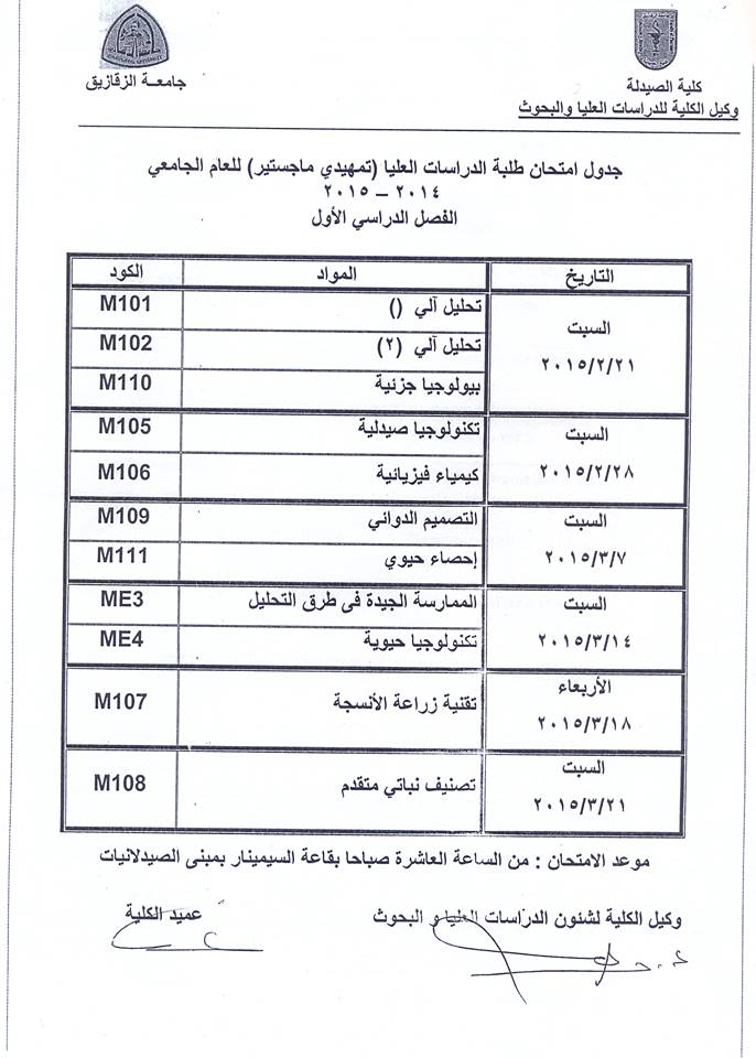 Preliminary MA exam schedule for the academic year 2014/2015 first semester