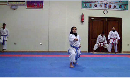 Aya Asla get first place in Karate at the university level