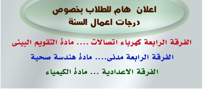 درجات اعمال الفصل للفرقة الرابعة مدنى و رابعة اتصالات والفرقة الاعدادية