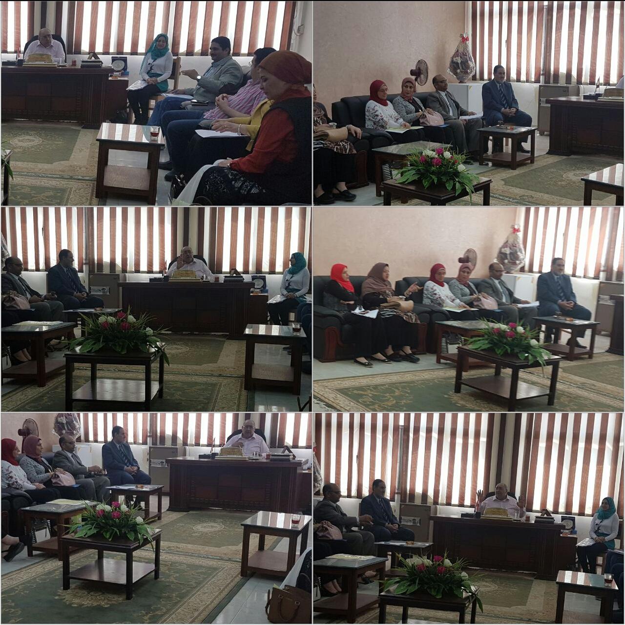 اجتماع سيادة عميد الكلية مع اعضاء لجان الممتحنين بالكلية